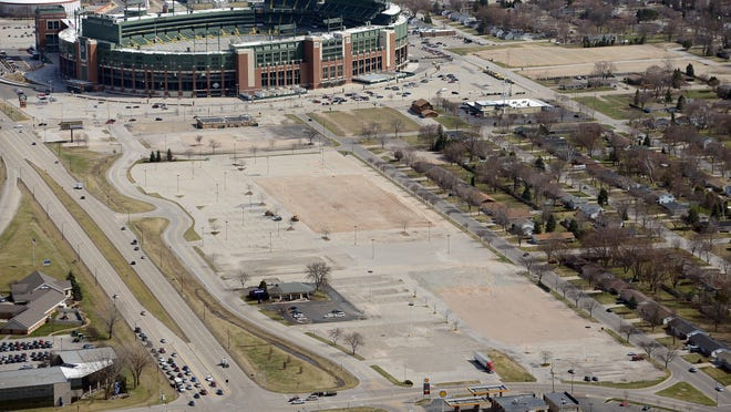 Land along Lombardi Avenue on Green Bay's west side purchased and cleared by the Green Bay Packers organization stretches west from Lambeau Field.
