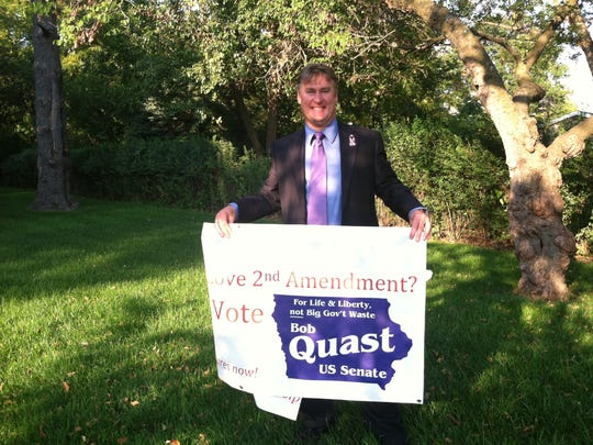 Bob Quast, independent candidate for U.S. Senate, at the debate between republican Joni Ernst and democrat Bruce Braley.