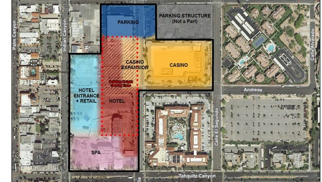 The site plan for the Vision Agua Caliente Master Plan in downtown Palm Springs showing the general locations for various land uses. The tribe will take public comments on the plan Feb. 7 at the Palm Springs Convention Center.