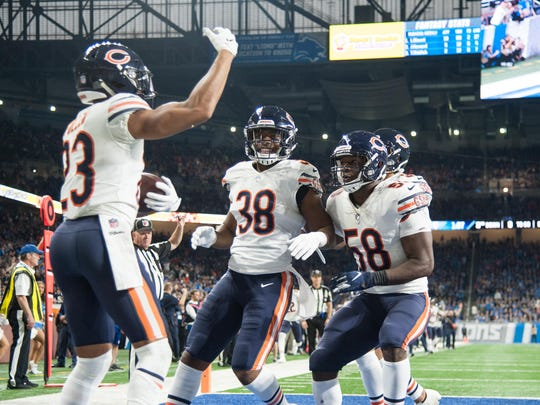 Nov 22, 2018; Detroit, MI, USA; Chicago Bears cornerback Kyle Fuller (23) celebrates his interception with teammates during the fourth quarter against the Detroit Lions at Ford Field. Mandatory Credit: Tim Fuller-USA TODAY Sports ORG XMIT: USATSI-381542 ORIG FILE ID:  20181122_lbm_af2_125.JPG