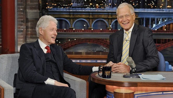 "Bill Clinton chats with David Letterman during Tuesday's episode of ""Late Show."""