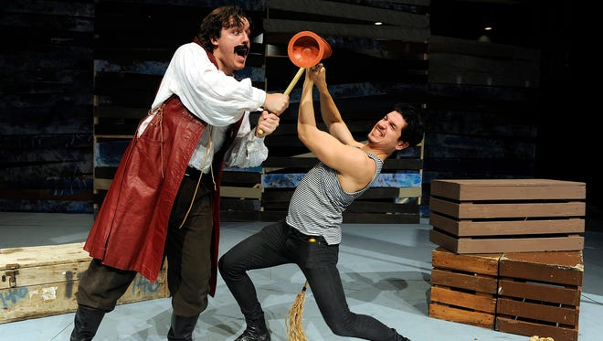"""Christian Schnucker (left) plays Black Stache and Diego Gonzalez plays Bill Slank in the Abilene Christian University production of """"Peter and the Starcatcher."""""""