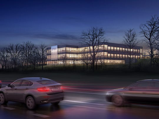 A rendering of KMPG's proposed technology center in