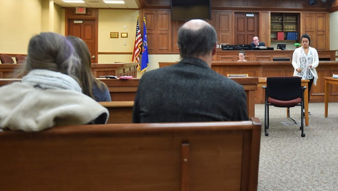 Megan P. Jorns, 23, right, makes an appearance without counsel in front of Judge David Weber in Door County Court Circuit Branch II in Sturgeon Bay on Tuesday. The Sturgeon Bay resident is charged with 19 drug-related felonies and three misdemeanors for possession of drug paraphernalia.