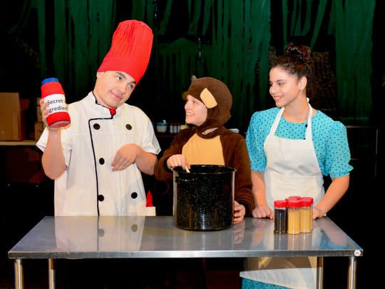 """Chef Pisghetti (Ben Austin, Curious George (Dawson Dabovich) and Netti (Sarah Rivers) in the musical """"Curious George: The Golden Meatball,"""" which opens tonight at 7:30 p.m. tonight, 1 p.m. and 5 p.m. Saturday and 2 p.m. Sunday."""