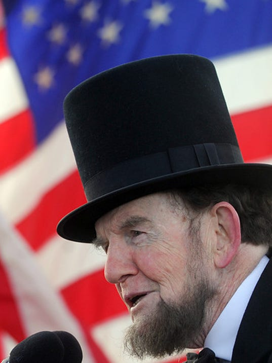 James Getty, portraying President Abraham Lincoln was on hand to say a few words at the Woolson Monument for the 57th Annual Remembrance Day Observance in Gettysburg on Saturday, Nov. 23, 2013. Jason Plotkin - Daily Record/Sunday News