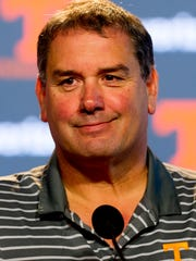 Tennessee interim head coach Brady Hoke speaks with the media ahead of the LSU game this weekend during a press conference at the Ray and Lucy Hand Digital Studio in Knoxville, Tennessee on Wednesday, November 15, 2017.