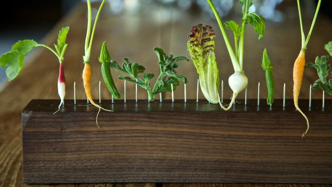 Vegetables on a Fence at Blue Hill at Stone Barns, a tasting dish made famous by chef Dan Barber.