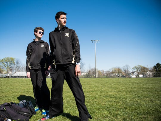 Biglerville's Daniel Wood waits to compete in distance