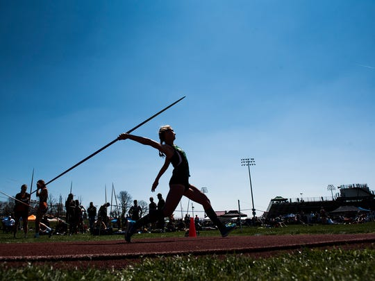 Fairfield's Cierra Phillips competes in the girls' javelin Saturday at Northern High School in the Arctic Blast Track and Field Invitational.