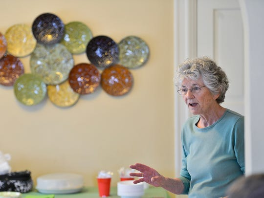 Southside University Neighborhood Association board member Mary Mathews talks to those gathered for a meeting Saturday, April 16, 2016, at Kristen Berreau's St. Cloud home.