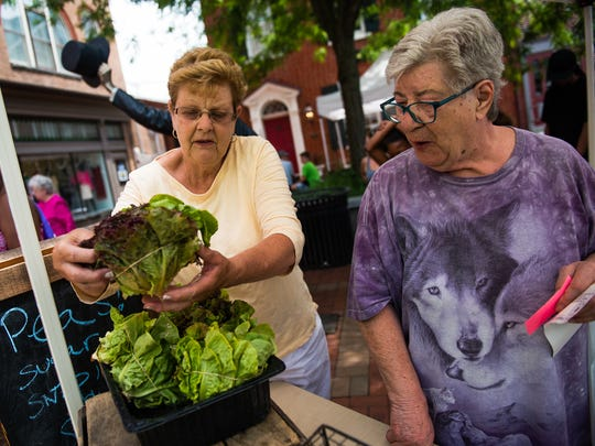 Karen Jones with Everblossom Farm helps customer Penelope Kessler of Gettysburg with selecting greens Thursday June 24, 2016 at the Adams County Farmers Market Association market in Lincoln Square.