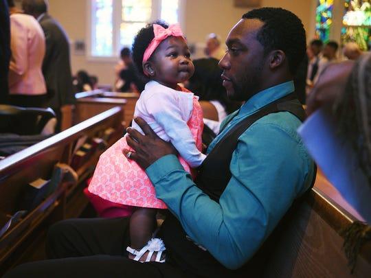Durrell Dukes and his daughter Teagan Dukes, 6 months,