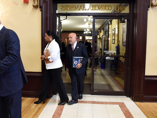 Paterson Mayor Joey Torres enters the City Council chambers to deliver his State of the City address on Tuesday.