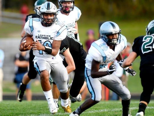 Lansing Catholic's Michael Lynn III runs for a touchdown