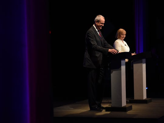 A backstage view of Phil Murphy and Kim Guadagno before the Oct. 10 debate at NJPAC in Newark.