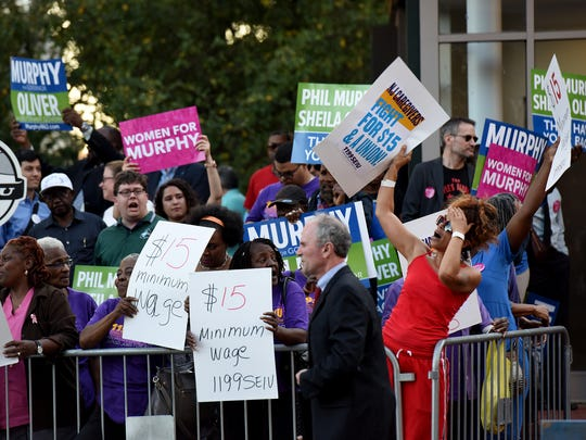 Supporters of 2017 NJ Gubernatorial Democratic candidate Phil Murphy gather before the debate outside of NJPAC   prior to the debate Tuesday, October 10, 2017.