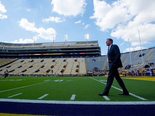 Auburn head coach Gus Malzahn walks the field before the NCAA football game between Auburn and LSU on Saturday, Oct. 14, 2017, at Tiger Stadium in Baton Rouge, La.