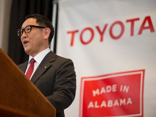 Akio Toyoda, Toyota Motor Corporation president, speaks during a press conference on Wednesday, Jan. 10, 2018, in Montgomery, Ala. The press conference was held to announcing production plants to be build by Mazda and Toyota in Huntsville, Ala.