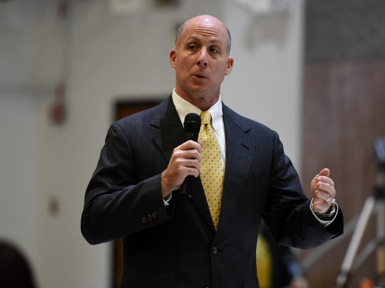 Richard O'Malley, currently superintendent of the Edison Township district, is one of three finalists for the superintendent's position in the Paterson school district. He answers questions during a public community forum featuring the finalists, held at Kennedy High School on Tuesday, February 13, 2018.