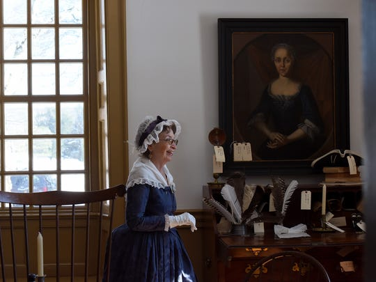 Martha Washington reenactor Rosann Pellegrino of Rochelle Park, meanders through the room George Washington used at his office during his stays at Dey Mansion during 1780. A  birthday celebration for Washington was held at Dey Mansion in Wayne on Sunday, February 18, 2018.