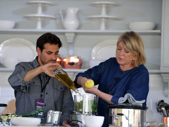 Martha Stewart and culinary director Thomas Joseph demonstrate a recipe during the Ventura County Star Food & Wine Experience in Ventura.