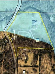 A closer view of the 10 acres, two homes and metal barn CU is seeking to buy below Fellows Lake Dam.