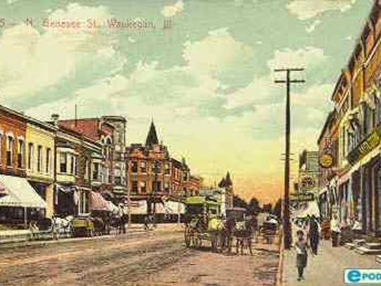 A postcard of downtown Waukegan, Ill.