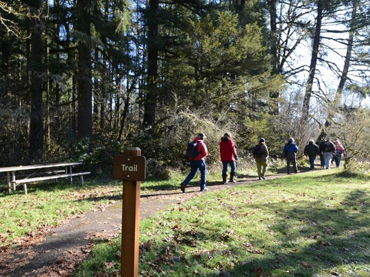 Hikers participate in the First Day Hike at North Santiam Recreation Area on New Year's Day, Thursday, Jan. 1, 2015. First Day Hikes are part of a nationwide initiative led by AmericaÕs State Parks to get people outdoors.