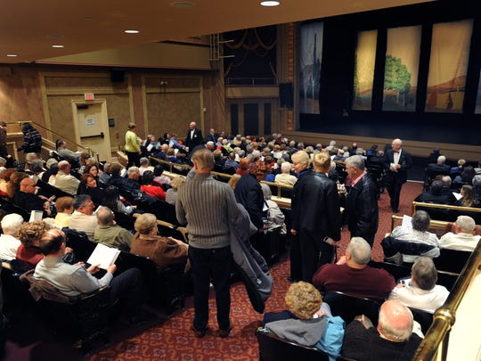 Patrons getting settled in orchestra section of The Schwartz Center for the Arts for the Clear Space production of Fiddler on the Roof.