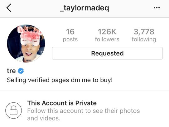 An Instagram account, @_taylormadeq, claimed it was