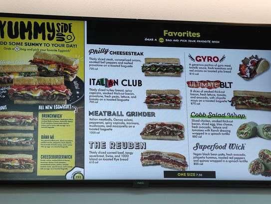 A partial menu at the recently opened Which Wich sandwich
