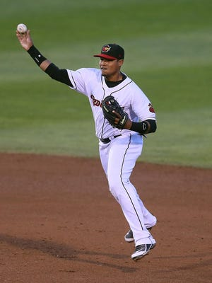 Argenis Diaz, shown here in a game in May, delivered a pair of clutch hits for the Red Wings on July 19, 2015.