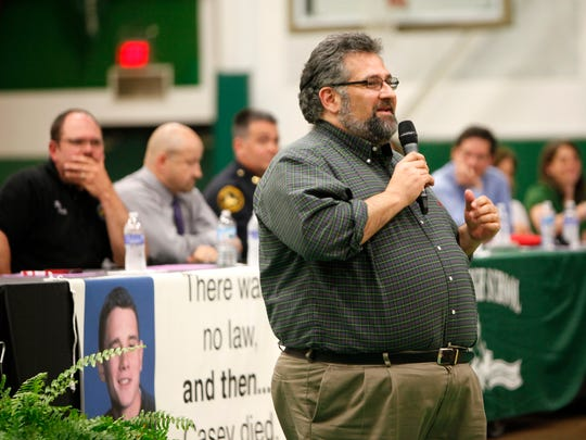 April, 2013: Dr. Kalfas speaks during the Campbell County Drug Free Alliance community town hall meeting at Dayton High School.