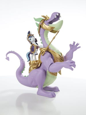 "Shining Armor rides a big Spike dragon, two figures that are part of a new ""My Little Pony Guardians of Harmony"" line."
