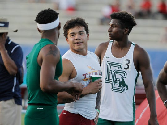 Kazmeir Allen of Tulare Union smiles after winning the 100 meter dash at the CIF Track and Field Championships at Buchanan High School Saturday, June 2, 2018 in Clovis, Calif.