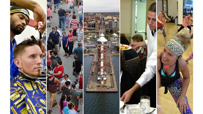 Shown here are file photos of, from left; a barber at work; a crowd at UPMC Park for an Erie SeaWolves game; the Bicentennial Tower at Dobbins Landing; a waiter serving a meal; and an exercise class at a local YMCA. More businesses will be allowed to open Friday under the state's loosened green phase restrictions, but with several restrictions still in place.