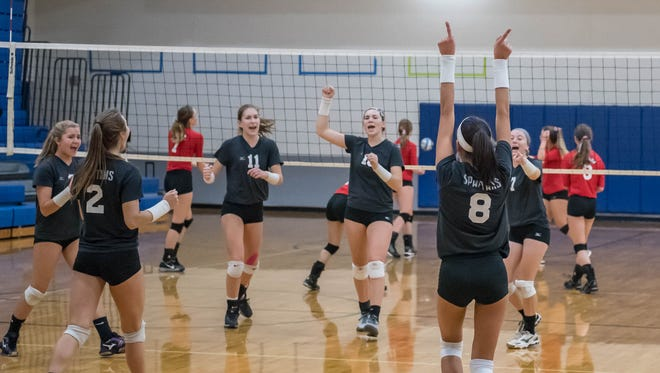 Lakeview's players celebrate after a point during the All-City Volleyball Tournament on Saturday.