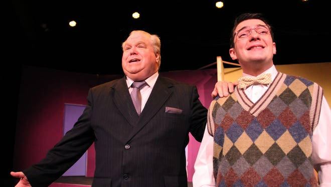 """James Wiggins (left) and Tavis Evans play a desperate opera manager and his meek assistant in """"Lend Me a Tenor"""" at Pentacle Theatre. The show runs through Feb. 14."""