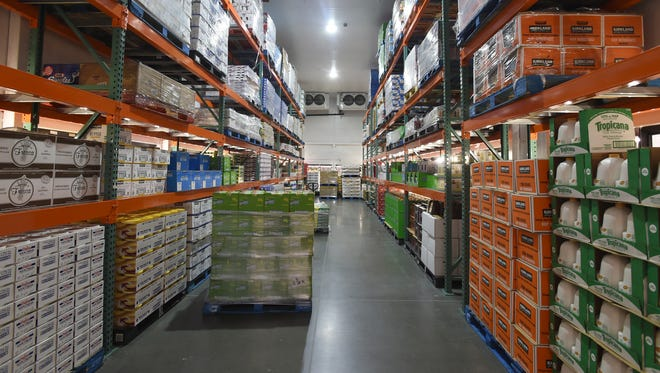 A Costco Wholesale freezer is full of food Wednesday Sept. 24, 2014, as they prepare for their Oct. 2 opening.