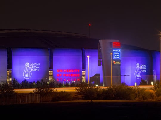The Arizona Cardinals' football stadium will be lit purple in honor of Domestic Violence Awareness Month for the Lighting Arizona Purple campaign during October.