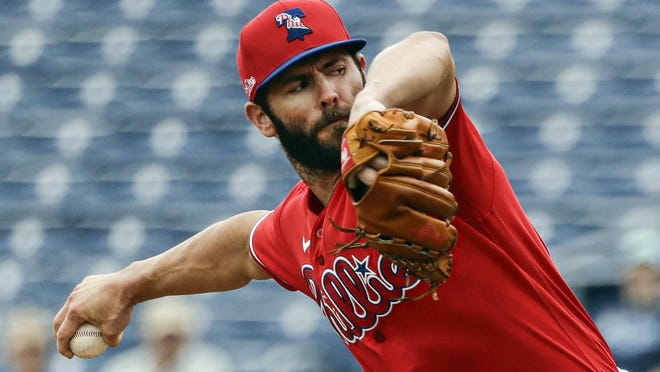 Philadelphia Phillies starting pitcher Jake Arrieta throws during the second inning of a spring training game Feb. 25 against the Toronto Blue Jays in Clearwater, Fla. Arrieta could become a free agent after the season.