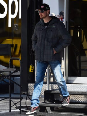 Kurt Busch is seen exiting a NASCAR hauler at Daytona on Friday.