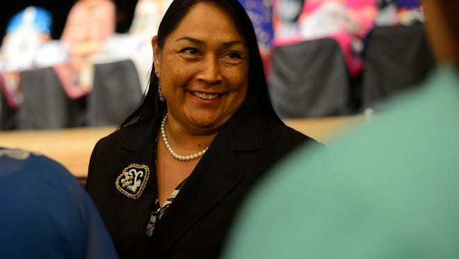 Tina Danforth greets people during the Oneida Nation's inauguration ceremony at the Radisson Hotel and Conference Center in Ashwaubenon on Thursday, Aug. 14, 2014. Danforth was elected as chairwoman.