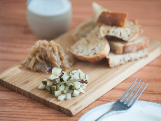 Chicken liver pate with cornichon-style pickles, caramelized onions, and rustic bread starts off a meal at Park Place Café & Restaurant in Merchantville.