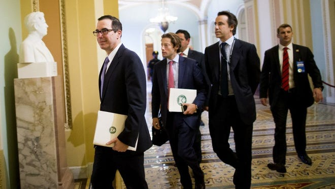 Treasury Secretary Steve Mnuchin arrives at a tax reform meeting, U.S. Capitol, Washington, April 25, 2017.