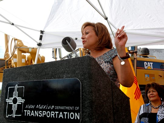 Gov. Susana Martinez on Tuesday talks about state funding for improvements on U.S. Highway 64  during a press conference at New Mexico Department of Transportation building in Farmington.