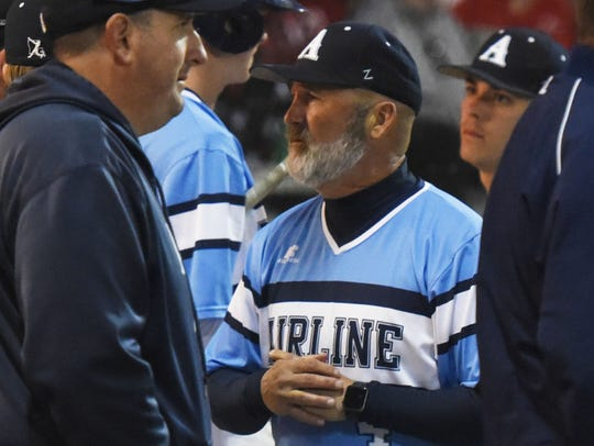 Airline baseball coach Toby Todd during his team's