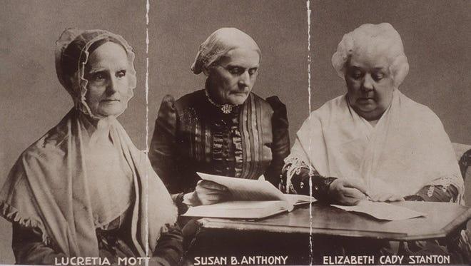 Photo montage of Lucretia Mott, Susan B. Anthony and Elizabeth Cady Stanton.