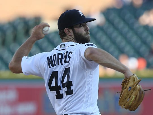 Daniel Norris throws against the Giants in the first inning July 5, 2017 at Comerica Park.